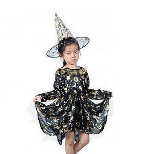Kit Fantasia Bruxa | Chapéu e Vestido | Halloween