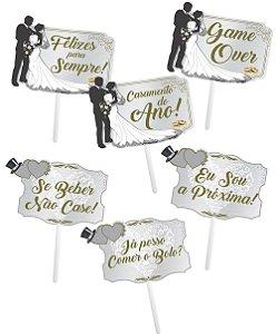Placa Divertida Casamento Luxo C/10