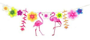 Enfeite Guirlanda/Faixa Flamingo Festa Tropical | 3 Metros