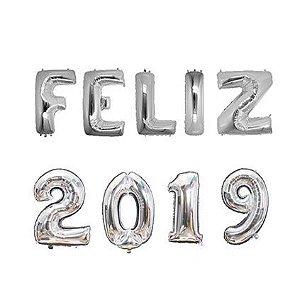 Balão Metalizado FELIZ 2019 - PRATA