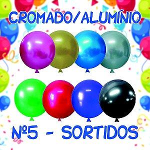 Balão/Bexiga Happy Day Cromado Alumínio N5