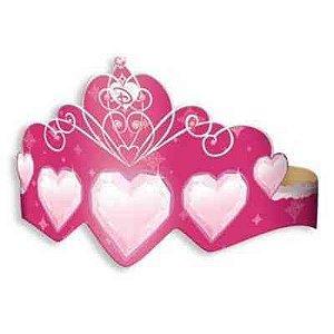 Coroa Princesa de Papel Rosa C/8