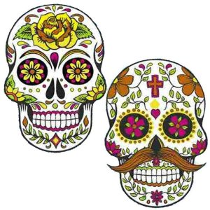 Mini Painel Caveira Mexicana Halloween C/4