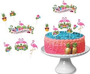 Topo de Bolo Impresso Flamingo C/6
