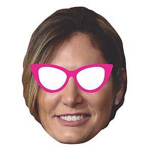 Máscara de Papel Michele Bolsonaro Com Óculos