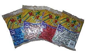 Balão / Bexiga Palito Alumínio Cores Diversas C/50 | Happy Day