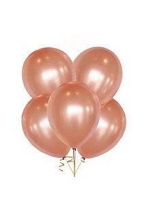 Kit Balão/Bexiga Alumínio Rose Gold N5'' C/50   Happy Day