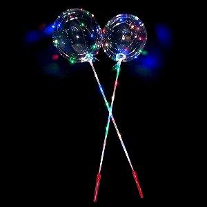 Balão Bubble Redondo LED Colorido com Vareta e Cabo