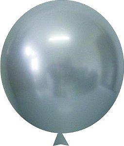 Balão / Bexiga Happy Day Cromado Alumínio Prata N9 e N5 C/100