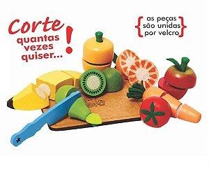 Kit Frutas e Legumes de Corte de Madeira