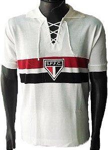 Camisa Retrô São Paulo SPFC Branco c/ Cordinha
