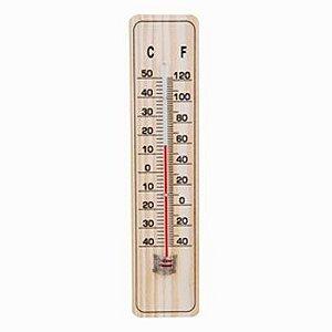 Termômetro Ambiente Base Madeira 20 Cm Celsius Fahrenheit