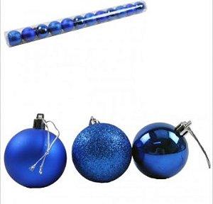Bola Arvore de Natal 5 cm Tubo com 12 Fosca Lisa Gliter