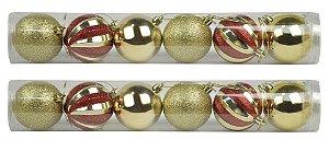Bola Arvore Natal 6 Cm Tubo 6 Bolas Douradas Mista