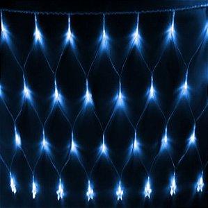 Natal Pisca Rede Estrela C/120 Lâmpadas Led Azul 127w