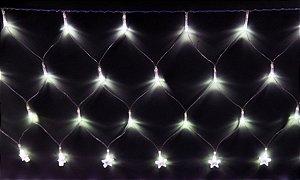 Natal Pisca Rede Estrela C/120 Lâmpadas Led Branco 127w