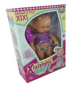 Boneca Xixizinho Baby com Mamadeira Mama e faz Xixi New
