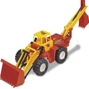 Brinquedo Trator C/Retro Escavadeira Cava Terra Carrinho New