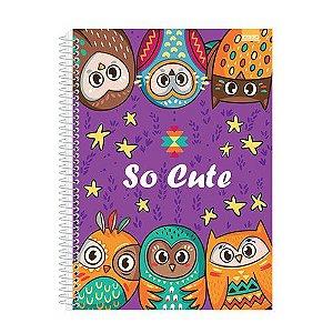 Caderno Universitário Só Cute Coruja 2 - 10x1  200 fls. New