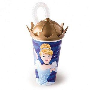 Copo Plastico Coroa 500ML C/ Canudo Princess New