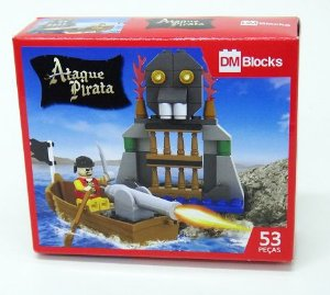 Brinquedo Brinquedo Blocks Ataque Pirata P/Montar 53PCS New