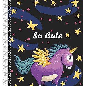 Kit 4 Cadernos Só Cute Capa Dura 200 Folhas 10 Matérias