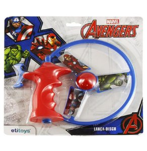 Kit c/ 5 Lança Disco a Corda Vingadores Avengers 15 Cm