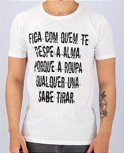 Camiseta Gola Tradicional Branca Despe a Alma