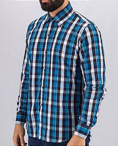 Camisa de Botão Xadrez Azul