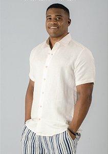 Camisa de Botão de Linho Off-White