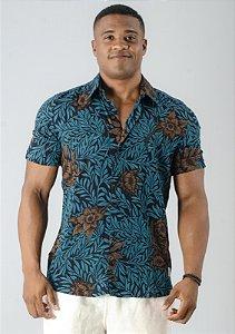 Camisa de Botão Preta Floral