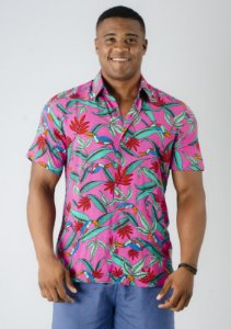 Camisa de Botão Rosa Floral