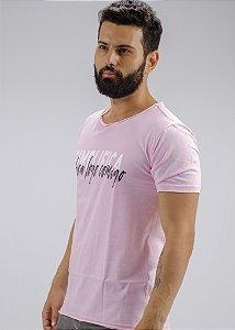 Camiseta Gola Redonda a Fio Rosa Simplifica