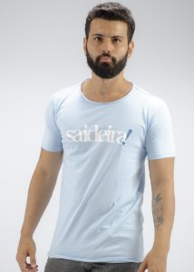 Camiseta Gola Redonda a Fio Azul Claro Saideirai!