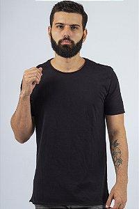 Camiseta Gola Redonda a Fio Preta Básica