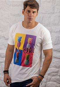 Camiseta Gola Redonda a Fio Branca It's OK