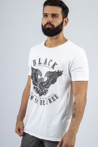 Camiseta Gola Redonda a Fio Branca Águia