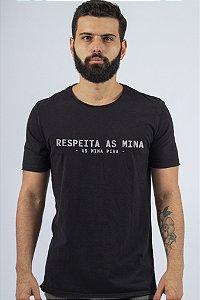 Camiseta Gola Redonda a Fio Preta Respeita as Mina