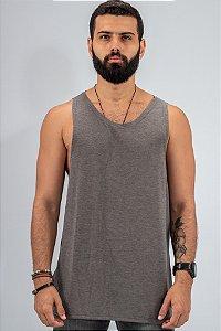 Camiseta Regata Tricô Cinza Básica