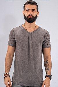 Camiseta Gola V Cinza Básica