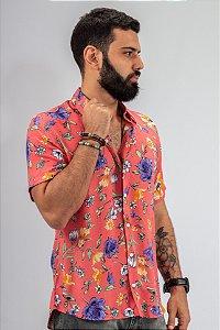 Camisa de Botão Rosa Casual Formoso