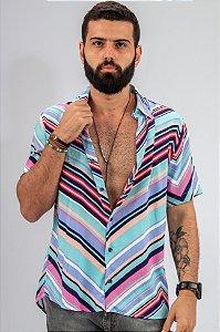 Camisa de Botão Estampa Geométrica