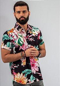Camisa de Botão Estampa Preto Sublime