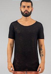 Camiseta Tricô Masculina Preta Gola Canoa