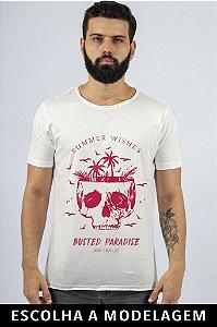 Camiseta Branca Paradise Skull