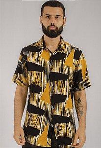 Camisa de Botão Estampa Casual Mostarda