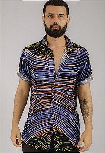 Camisa de Botão Estampa DGT Ink