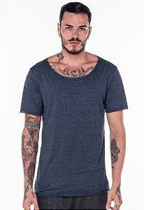 Camiseta Gola Canoa Mescla Azul