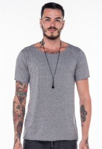 Camiseta Gola Canoa Mescla Cinza
