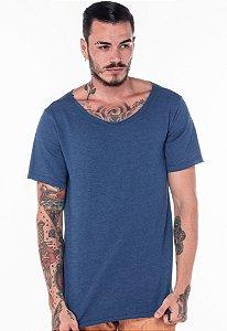 Camiseta Gola Canoa Crochê Azul